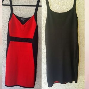 Forever 21 1X Plus Body Con Red and Black Dress